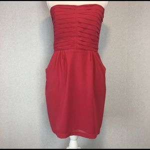 Sparkle & Fade Dress Sz 10 Red Fit Flare Strapless